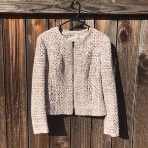 Anne Klein | Zipper Front Tweed Blazer